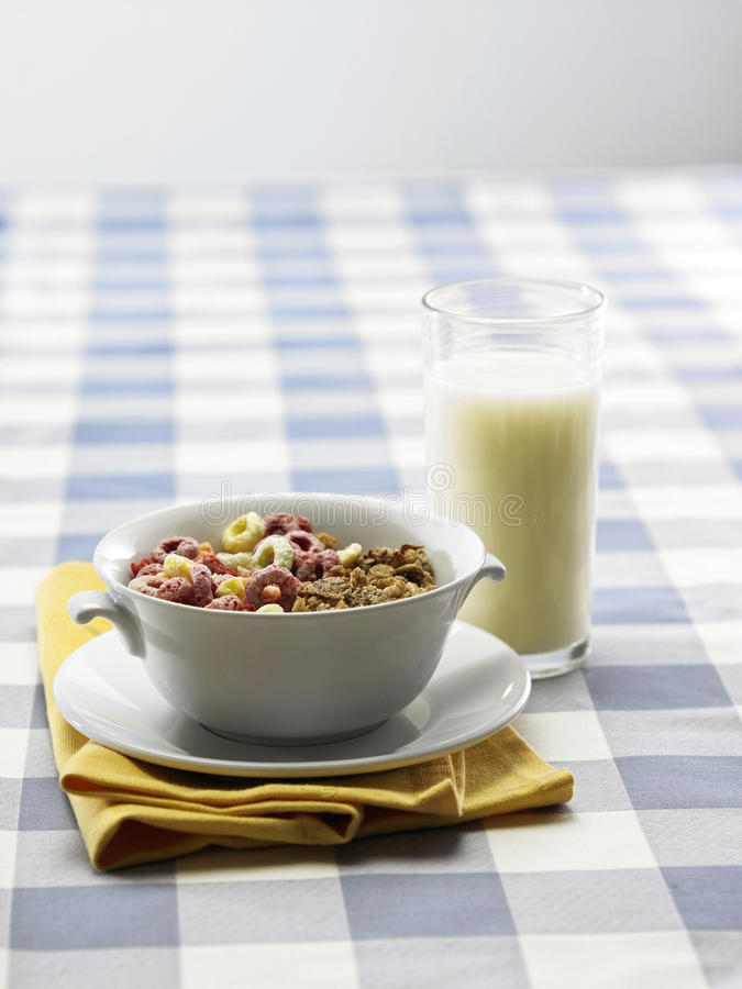 Breakfast. Stock image of the cereal and milk stock images