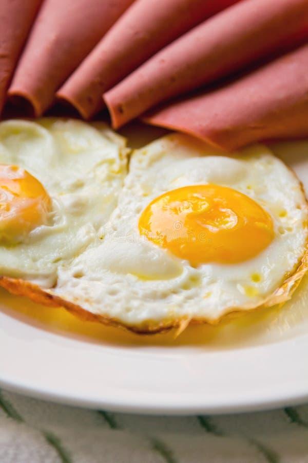 Breakfast. Eggs, silences beef mortadella meat stock photography