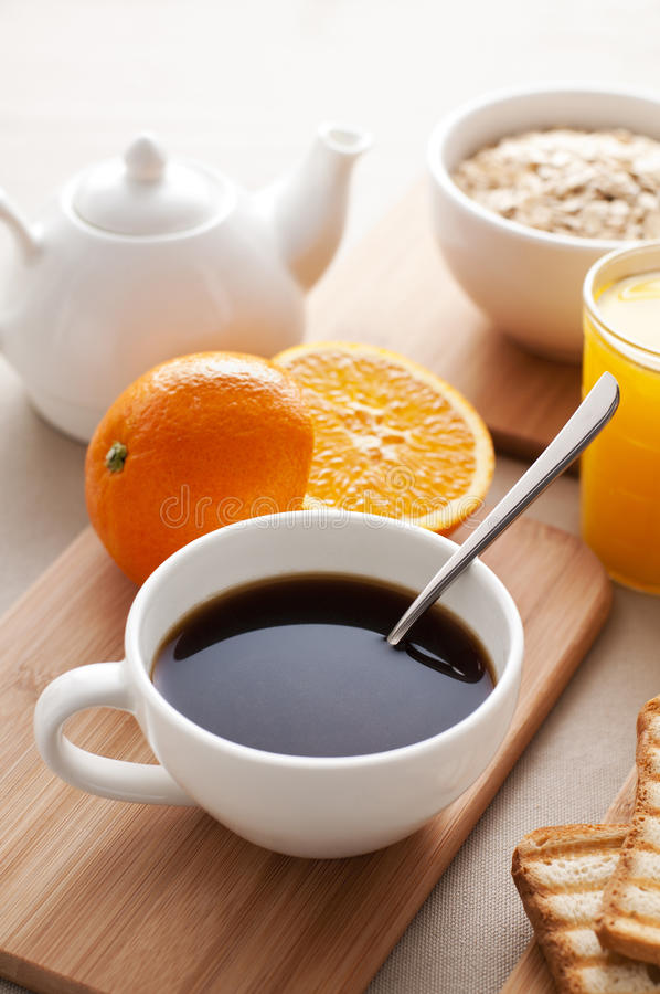 Breakfast. Morning coffee and breakfast close up shoot stock image
