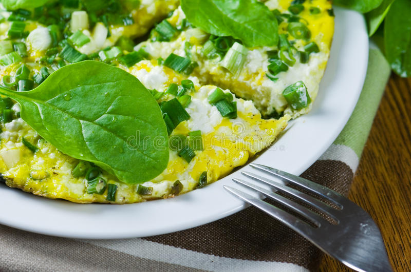 Breakfast. Morning breakfast with spinach omelet stock photo