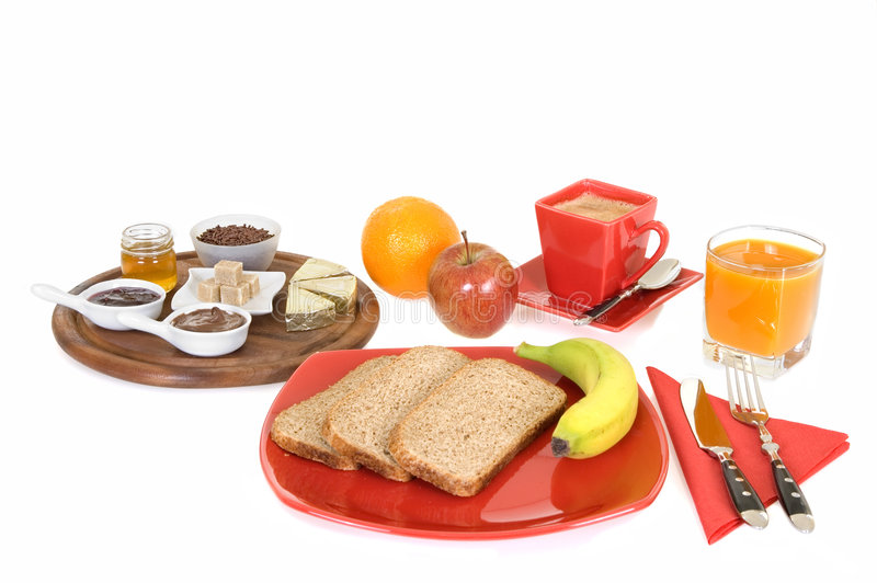 Breakfast. Arrangement with bread and coffee isolated on white background stock photography