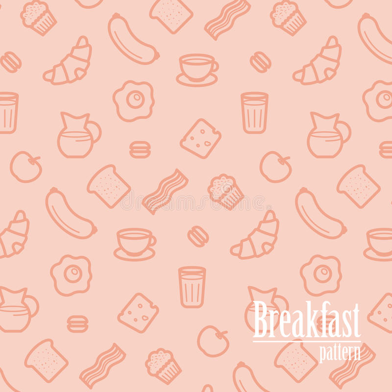 Breakfast Background. Seamless Pattern With Line Icons of Food Like Sausage, Bread, Croissant, Bacon, Muffins, Coffee, Milk etc. royalty free illustration