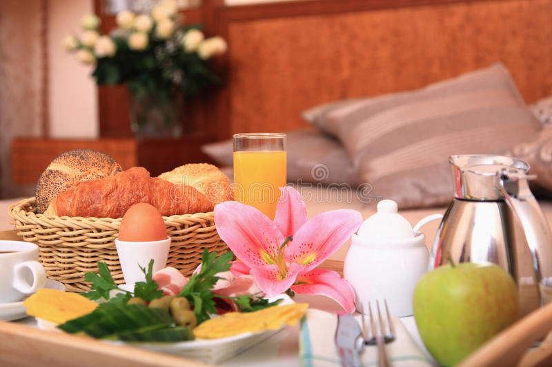 Breakfast on a bed. royalty free stock photos