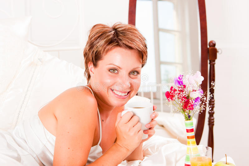 Download Breakfast in bed stock photo. Image of interior, beauty - 17661726