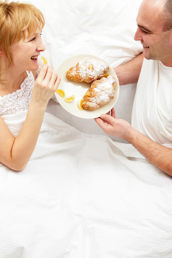 Download Breakfast in bed stock image. Image of pillow, handsome - 17769737