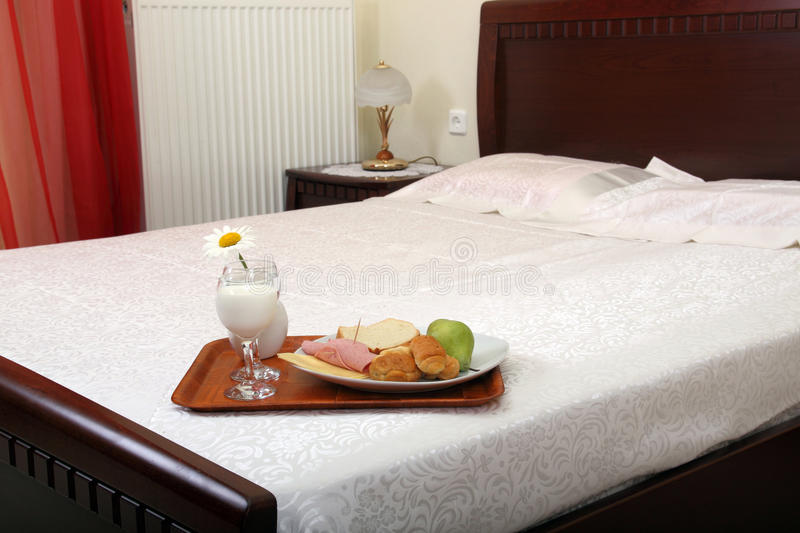 Download Breakfast on bed stock photo. Image of drape, fruit, eating - 25565922