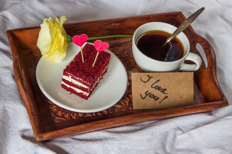 Breakfast in bed. Cup, coffee, red, velvet, cake and text I love stock photos
