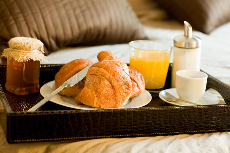 Breakfast in the bedroom royalty free stock photo