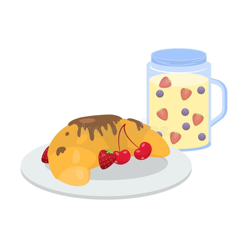 Breakfast with berries and chocolate croissant and smoothie vector illustration vector illustration