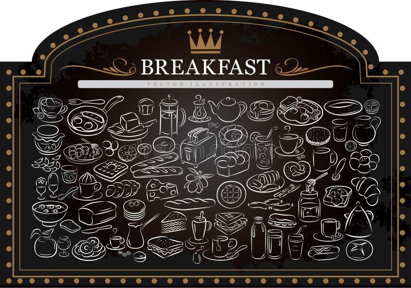 Breakfast on Blackboard royalty free stock images