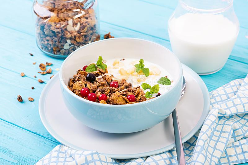 Breakfast. Bowl of homemade granola with yogurt and fresh berries. Table setting. Healthy food royalty free stock image