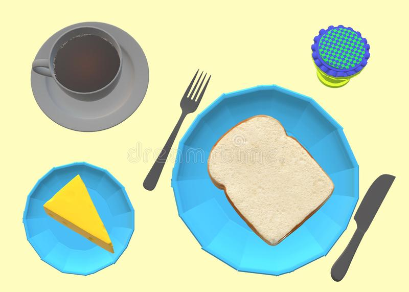 A breakfast of bread cheese jam and coffee on a table top down view royalty free stock images
