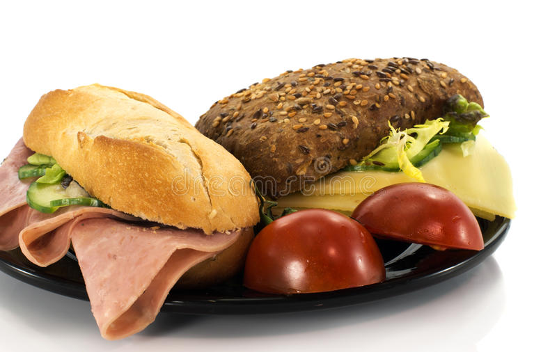 Breakfast with bread and tomato royalty free stock image