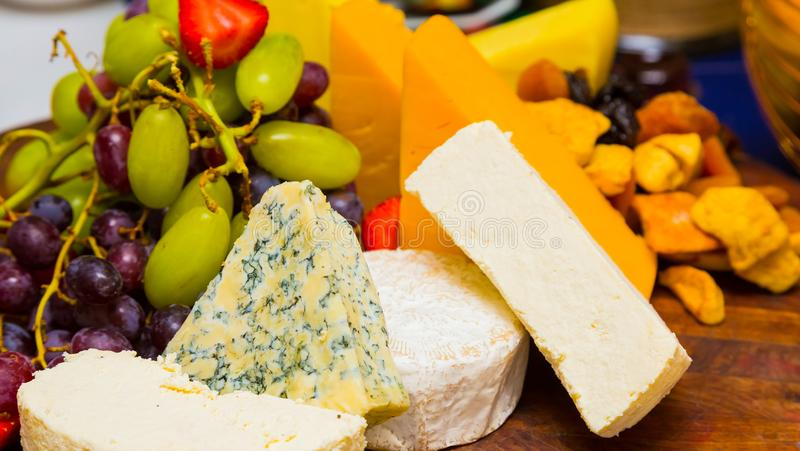 Breakfast brunch cheese board at Spring Festival picnic event. Breakfast brunch cheese fruit board at Spring Festival picnic event stock photos
