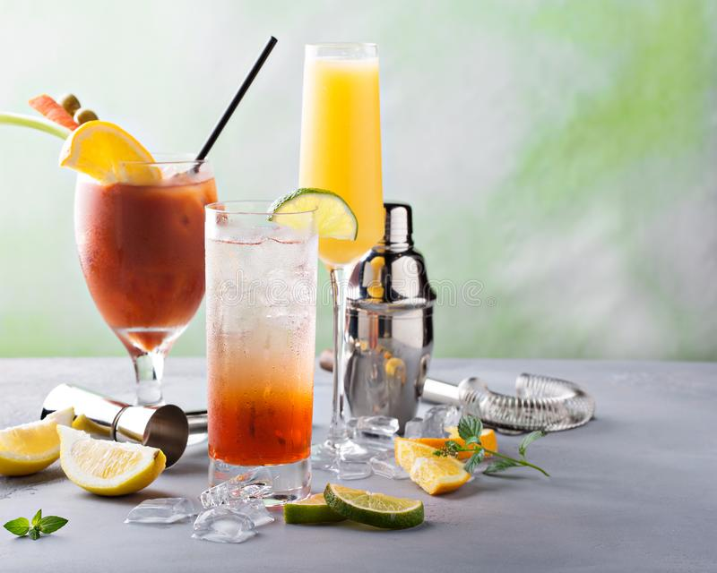 Breakfast or brunch cocktails royalty free stock photography