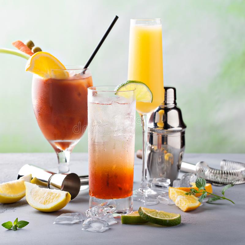 Breakfast or brunch cocktails. Bloody Mary and mimosa, breakfast or brunch cocktails variety stock photos