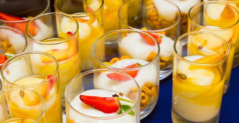 Breakfast Brunch yogurt with fruit at Spring Festival. Picnic event stock photos