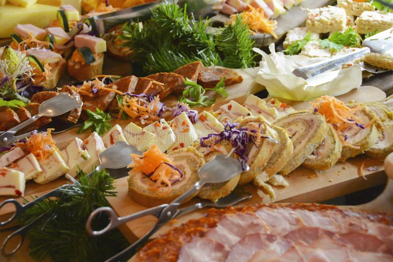 Breakfast buffet catering. Canapes in the hotel or restaurant stock photos