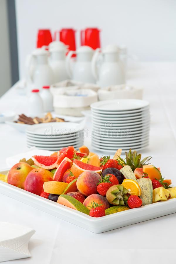 Breakfast buffet - fruits, coffee and tea. Breakfast buffet - fresh fruits, coffee and tea stock photo