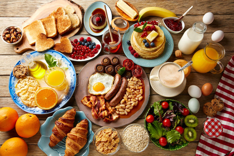 Breakfast buffet full continental and english stock photo