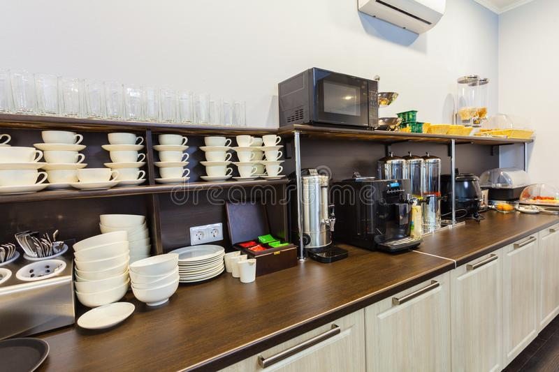 Breakfast buffet in the modern hotel motel or hostel during a self service stock photo