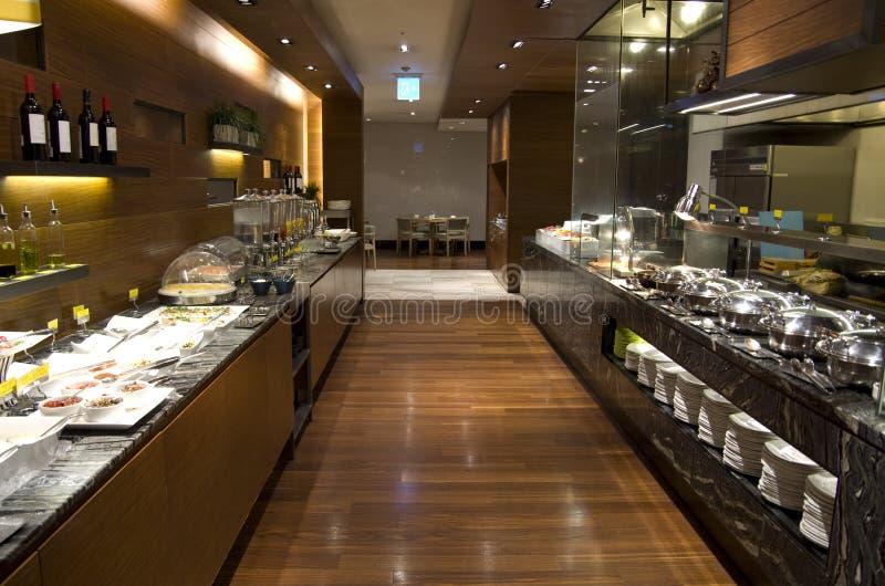 Breakfast buffet restaurant food in a hotel. A hotel breakfast buffet with many choices of food stock photo