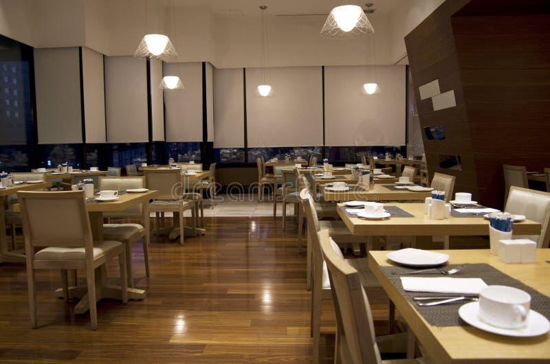Breakfast buffet restaurant interiors stock images