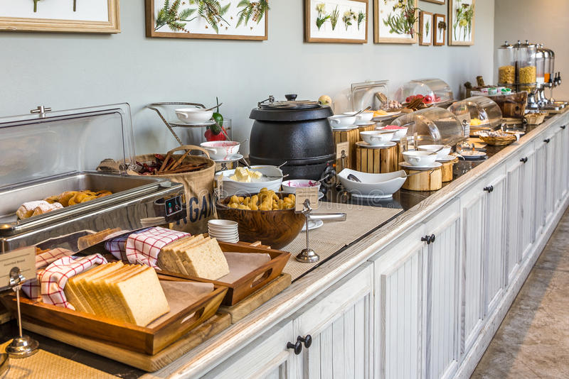 Breakfast Buffet. Setup in hotel in HDR royalty free stock photos