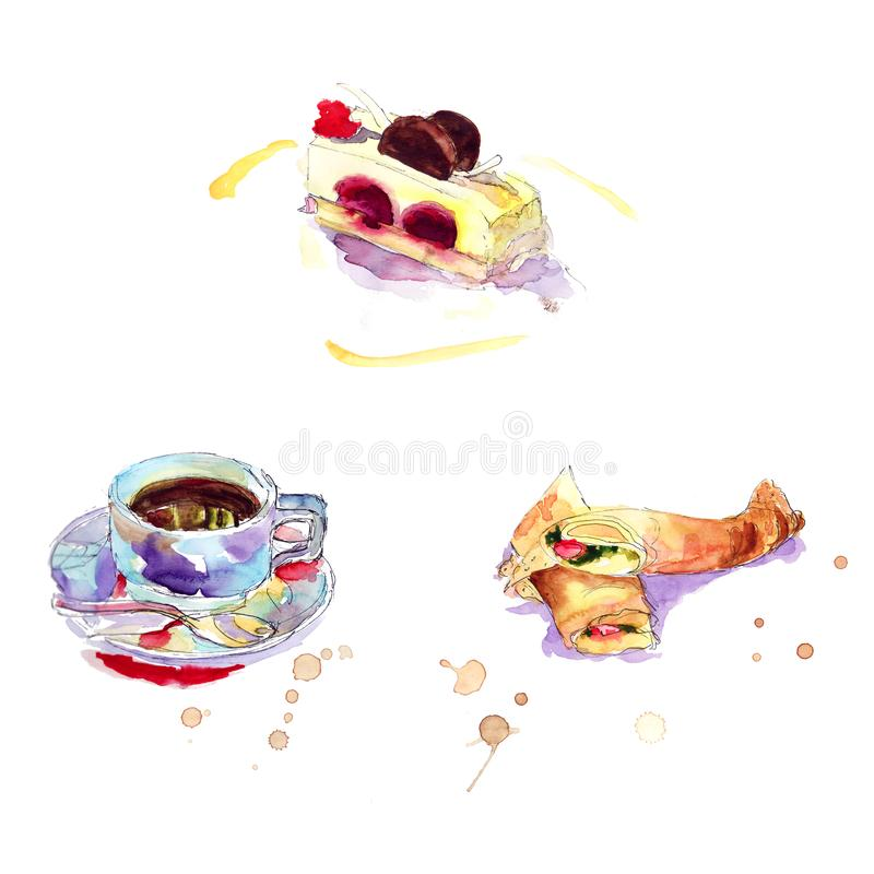Breakfast in the cafe: pancakes stuffed with fish, coffee, cake Watercolor sketch. Breakfast in the cafe: pancakes stuffed with fish, coffee, cake - Watercolor stock illustration