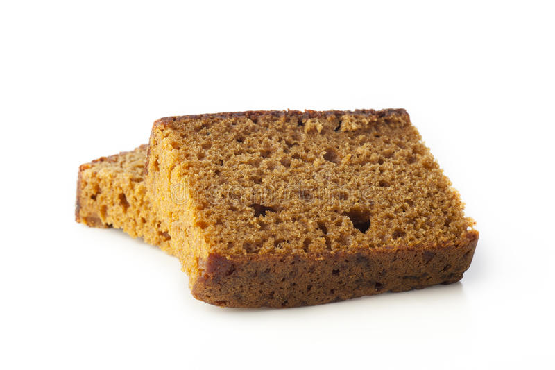 Breakfast Cake Isolated. Dutch breakfast cake, often spiced with cloves cinnamon and nutmeg. Isolated on white background royalty free stock images