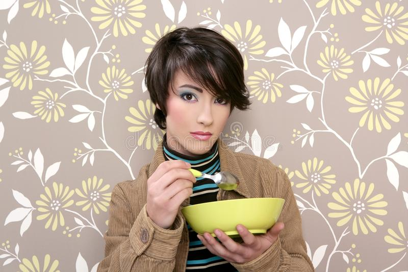Breakfast cereal bowl soup dish retro woman royalty free stock photos