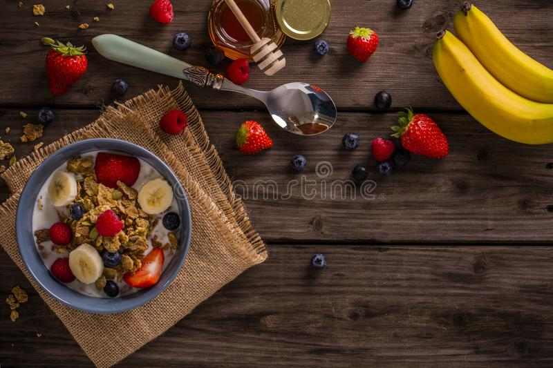 Breakfast cereal negative space top view royalty free stock photos