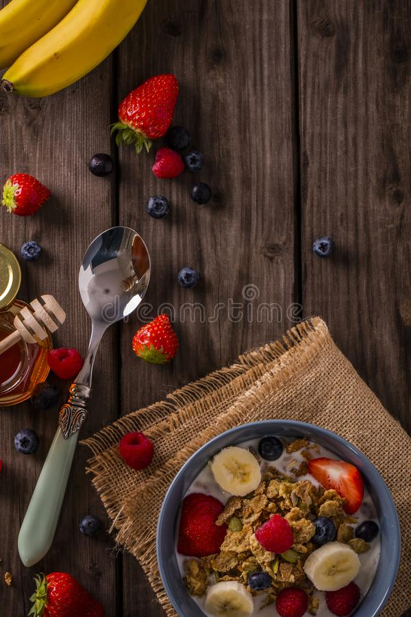 Breakfast cereal negative space top view stock images