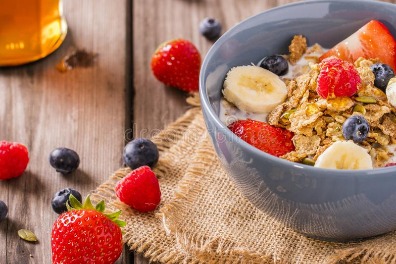 Breakfast cereal rustic royalty free stock images