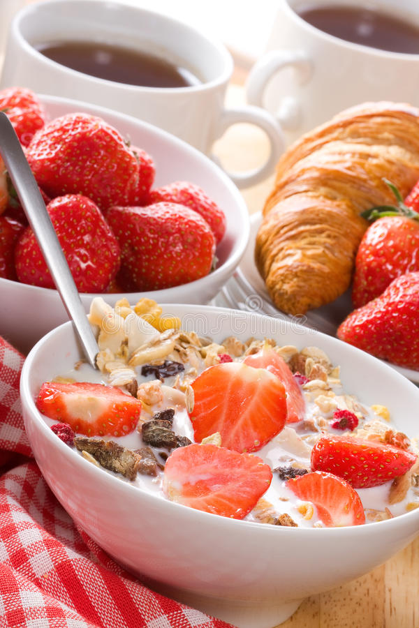 Breakfast with cereals stock photography