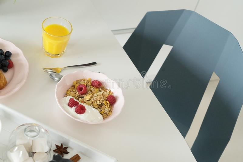 Breakfast with cereles royalty free stock photo