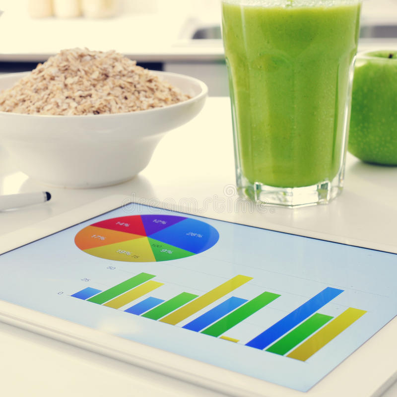 Breakfast and charts royalty free stock images