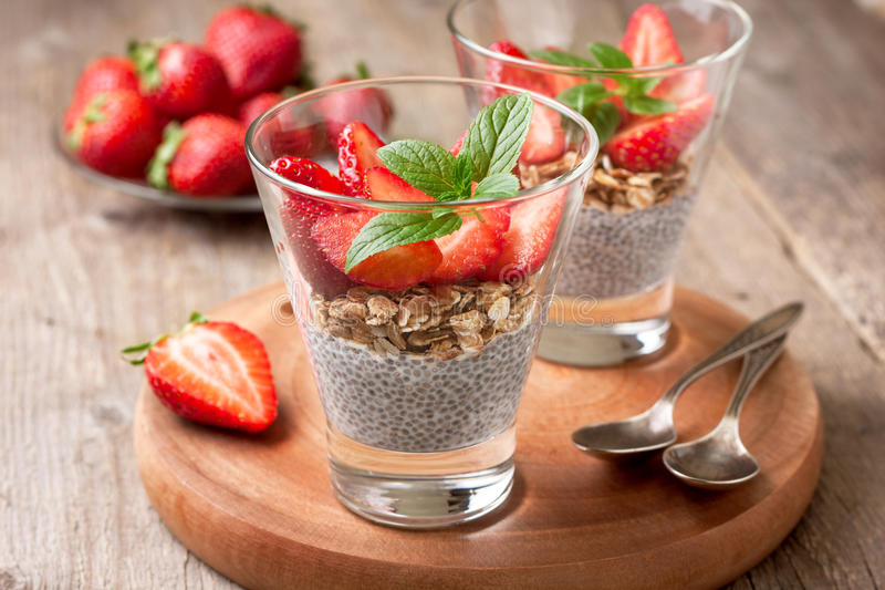 Download Breakfast With Chia Pudding, Strawberries And Muesli Stock Photo - Image: 83702960