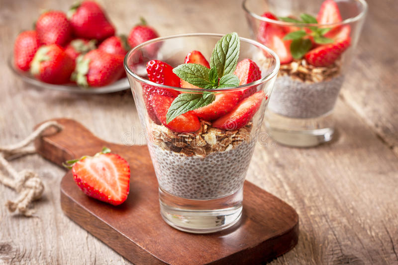 Download Breakfast With Chia Pudding, Strawberries And Muesli Toning Stock Image - Image: 83702933