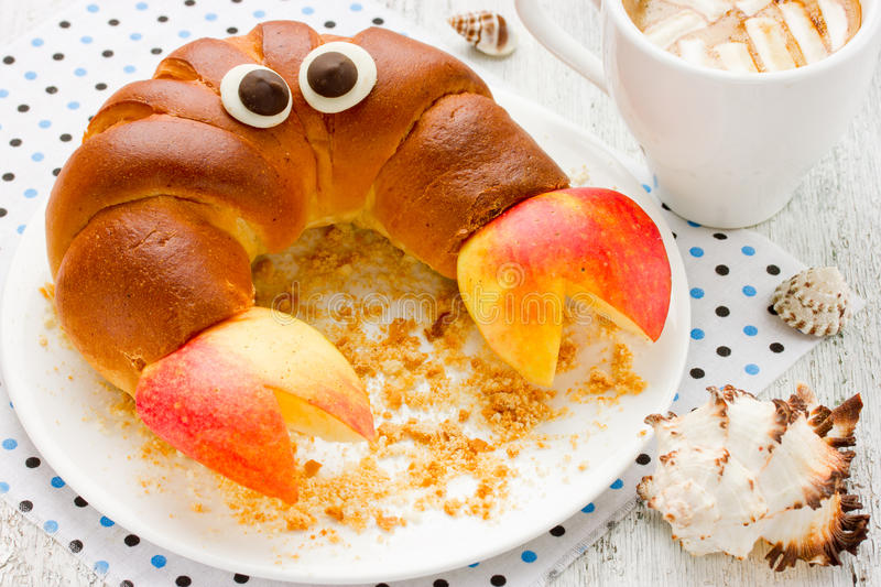 Breakfast child - french croissant crab with apple and cocoa wit. H marshmallow selective focus royalty free stock images