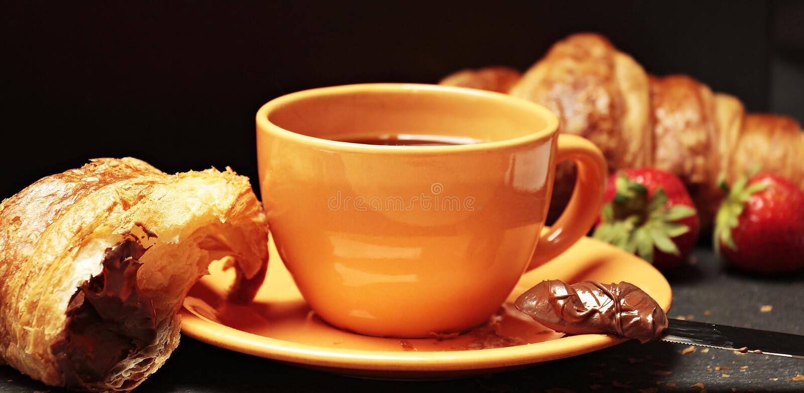 Breakfast, Close-up, Croissant stock photos