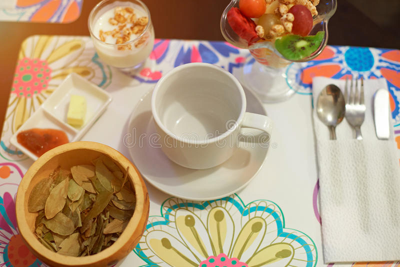 Breakfast with coca tea. And yogurt view from top royalty free stock photos