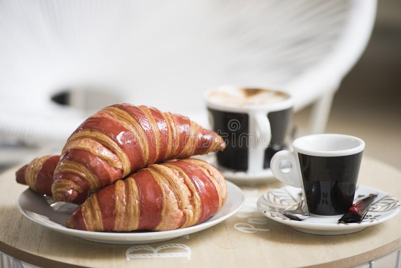 Breakfast with coffe on a table stock photography