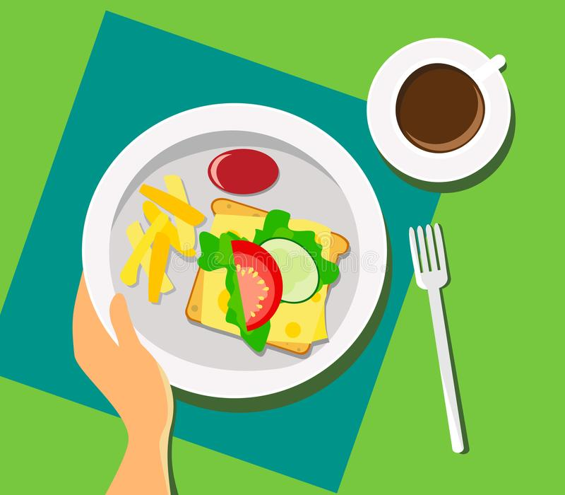 Breakfast with coffee, sauce with French fries, sandwich with salad, cheese and vegetables. Vector vector illustration