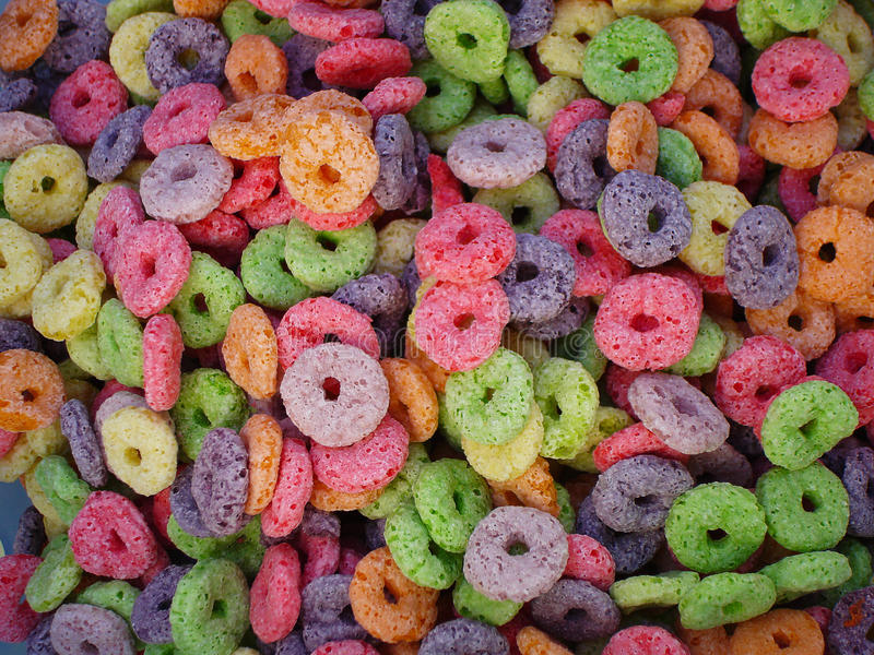 Breakfast colored cereals stock photo