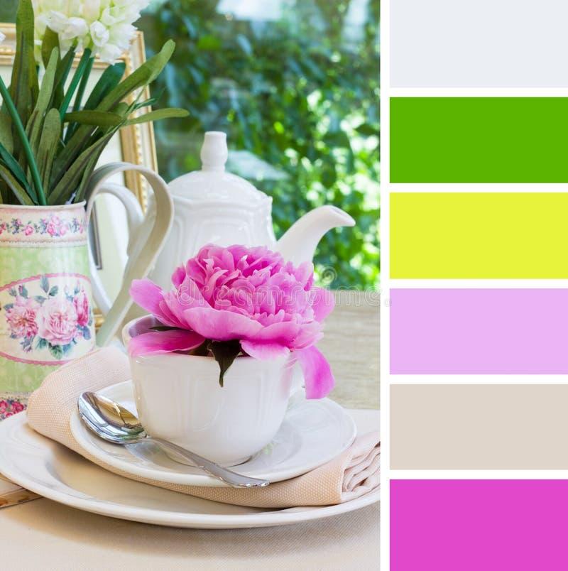 Breakfast, colour palette swatches. Breakfast outdoors, colour palette swatches stock image