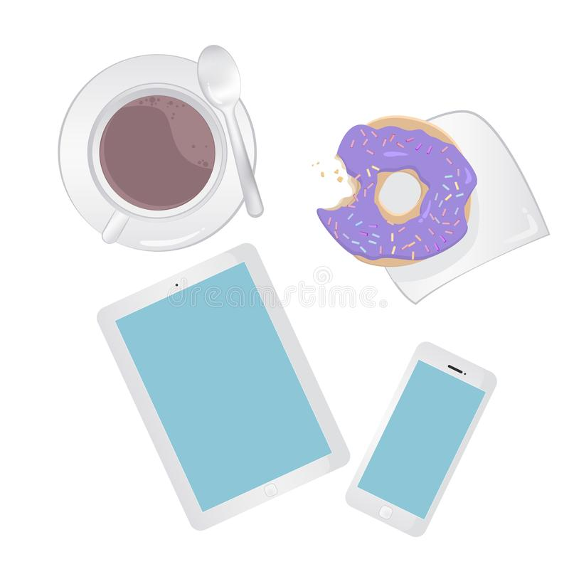 Breakfast concept top view. Set smartphone, tablet, coffee and donut. Isolated on white background. Stock vector illustration vector illustration