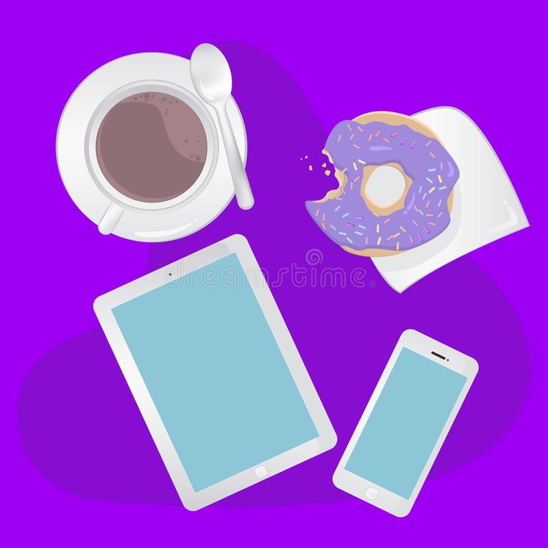 Breakfast concept top view. Set smartphone, tablet, coffee and donut vector illustration