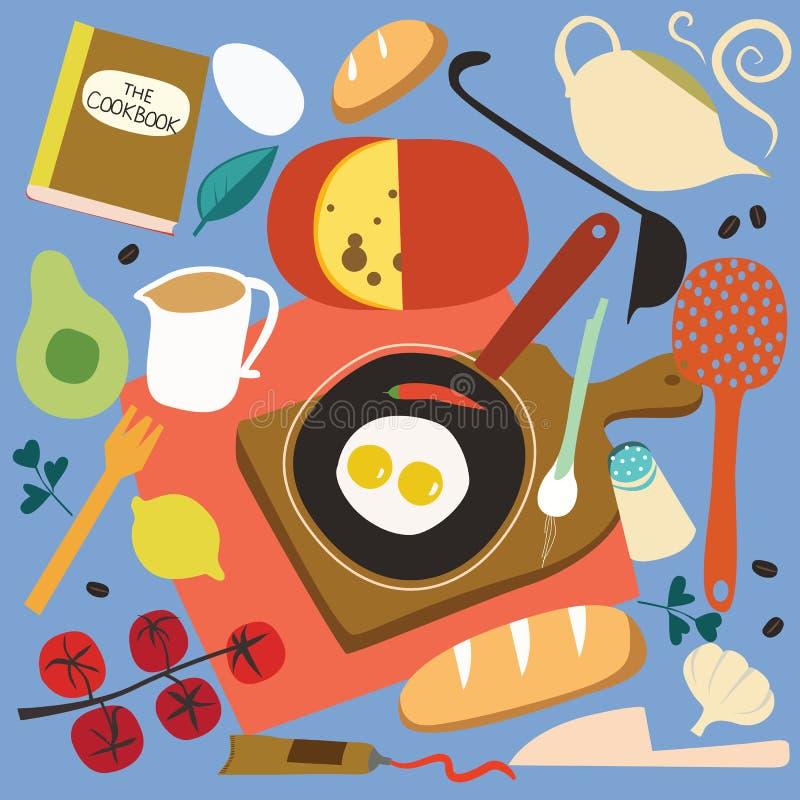 Breakfast cooking set stock illustration