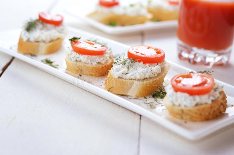 Download Breakfast Of Cottage Cheese Bruschettas And Tomato Juice Stock Image - Image of bread, natural: 31983119
